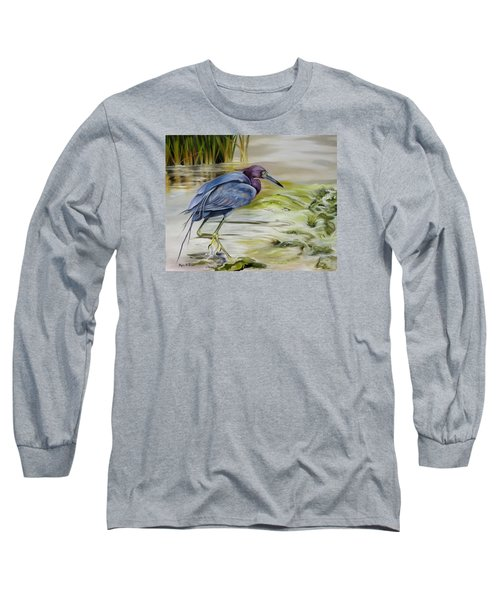 Long Sleeve T-Shirt featuring the painting Little Blue Heron In The Bay by Phyllis Beiser