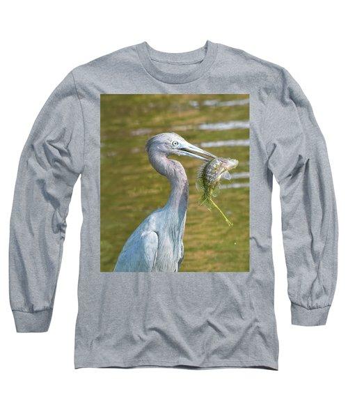 Little Blue Shows Me Its Catch Long Sleeve T-Shirt
