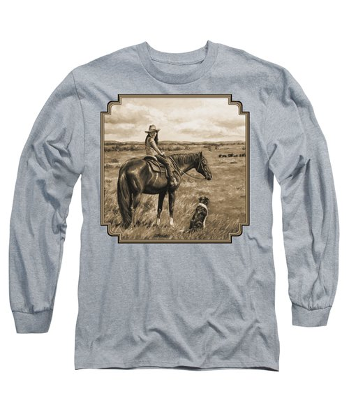 Little Cowgirl On Cattle Horse In Sepia Long Sleeve T-Shirt by Crista Forest