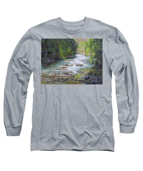 Long Sleeve T-Shirt featuring the painting Little Creek by Karen Ilari