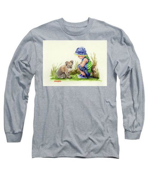 Long Sleeve T-Shirt featuring the painting Little Friends Watercolor by Margaret Stockdale