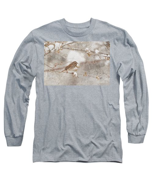 Long Sleeve T-Shirt featuring the photograph Little House Sparrow by Lila Fisher-Wenzel