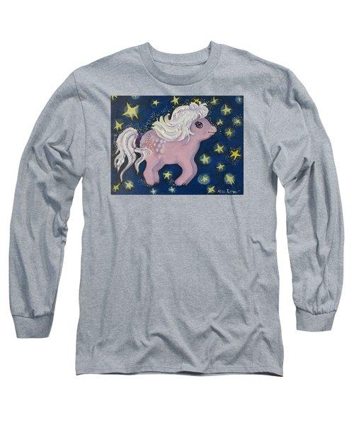 Little Pink Horse Long Sleeve T-Shirt by Rita Fetisov