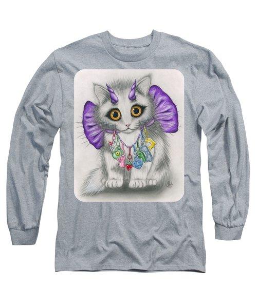 Little Purple Horns - 1980s Cute Devil Kitten Long Sleeve T-Shirt