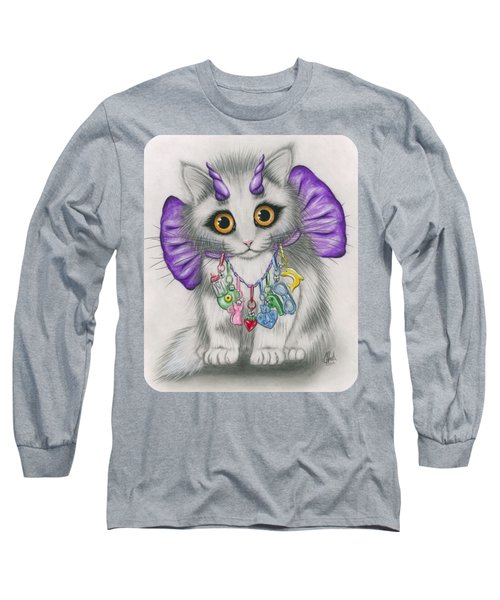 Long Sleeve T-Shirt featuring the mixed media Little Purple Horns - 1980s Cute Devil Kitten by Carrie Hawks