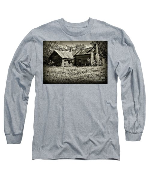 Little Red Farmhouse In Black And White Long Sleeve T-Shirt by Paul Ward