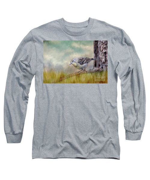 Long Sleeve T-Shirt featuring the photograph Little Warbler In Louisiana Winter by Bonnie Barry