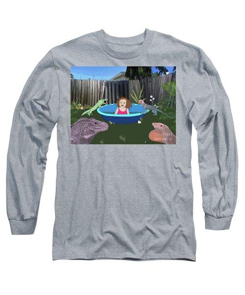 Long Sleeve T-Shirt featuring the digital art Lizard People by Megan Dirsa-DuBois