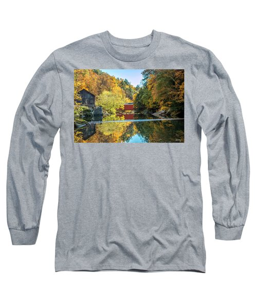 Long Sleeve T-Shirt featuring the photograph Mcconnell's Mill And Covered Bridge by Skip Tribby