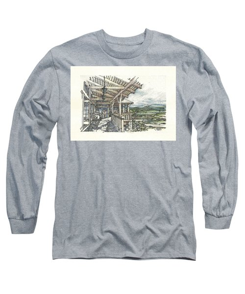 Long Sleeve T-Shirt featuring the drawing Lodge 2 by Andrew Drozdowicz