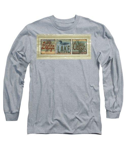 Lodge Lake Cabin Sign Long Sleeve T-Shirt by Joe Low