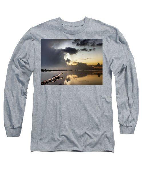 Log Pointing To Sunset Long Sleeve T-Shirt by Greg Nyquist