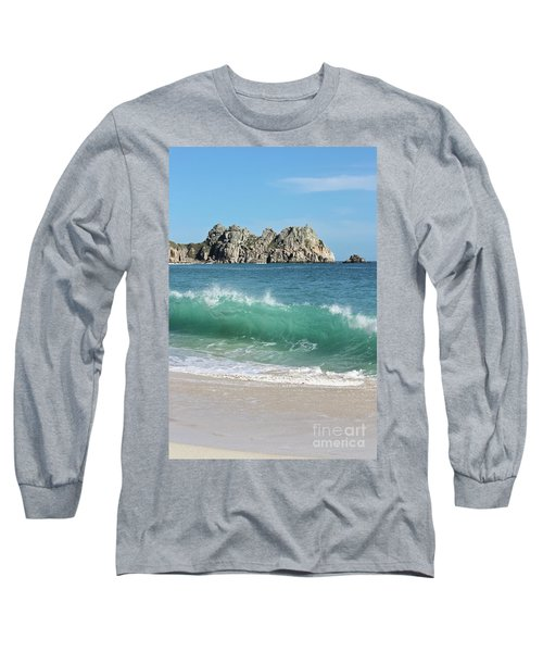 Long Sleeve T-Shirt featuring the photograph Logan Rock Porthcurno Cornwall by Terri Waters