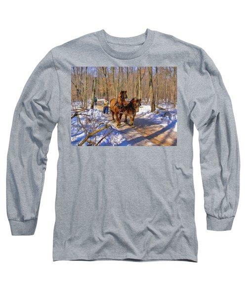 Logging Horses 1 Long Sleeve T-Shirt by Trey Foerster