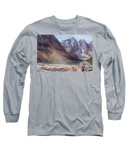 Logs At Lake Moraine Long Sleeve T-Shirt by Patricia Hofmeester