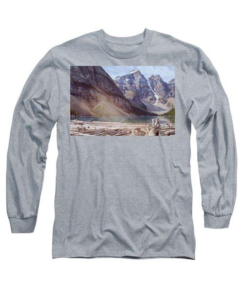 Logs At Lake Moraine Long Sleeve T-Shirt
