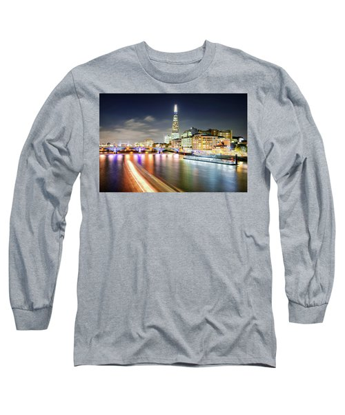 London At Night With Urban Architecture, Amazing Skyscraper And Boat At Thames River, United Kingdom Long Sleeve T-Shirt