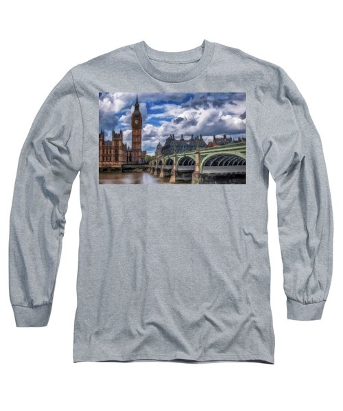 Long Sleeve T-Shirt featuring the painting London Big Ben by David Dehner