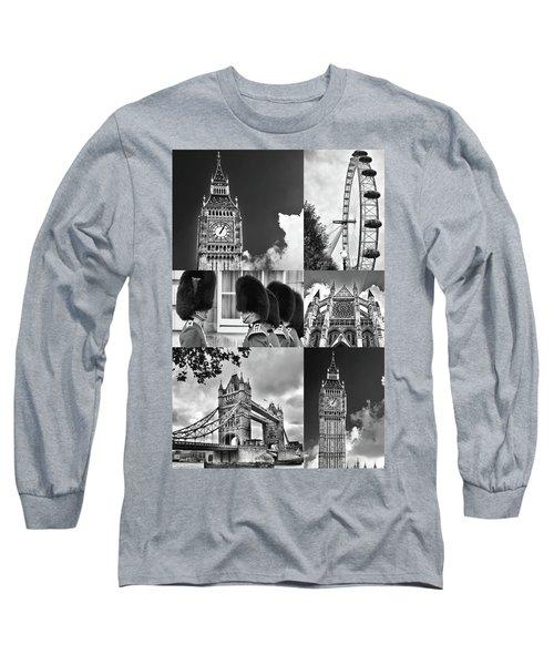 London Collage Bw Long Sleeve T-Shirt