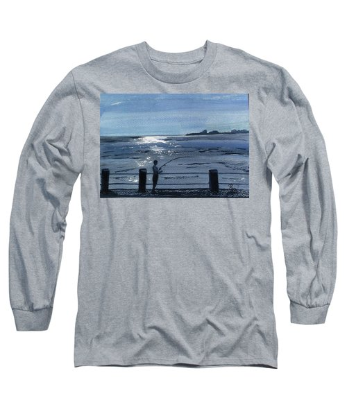 Lone Fisherman On Worthing Pier Long Sleeve T-Shirt