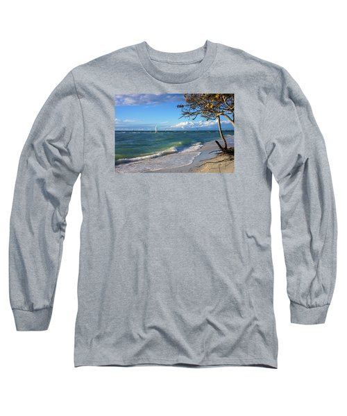 Long Sleeve T-Shirt featuring the photograph Lone Windsurfer At Wiggins Pass by Robb Stan
