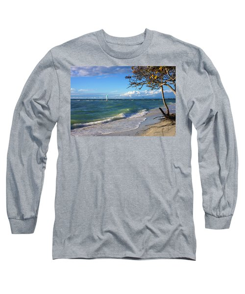 Lone Windsurfer At Wiggins Pass Long Sleeve T-Shirt