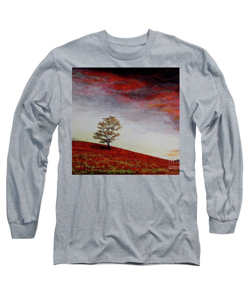 Long Sleeve T-Shirt featuring the painting Lonely Tree by Judy Kirouac
