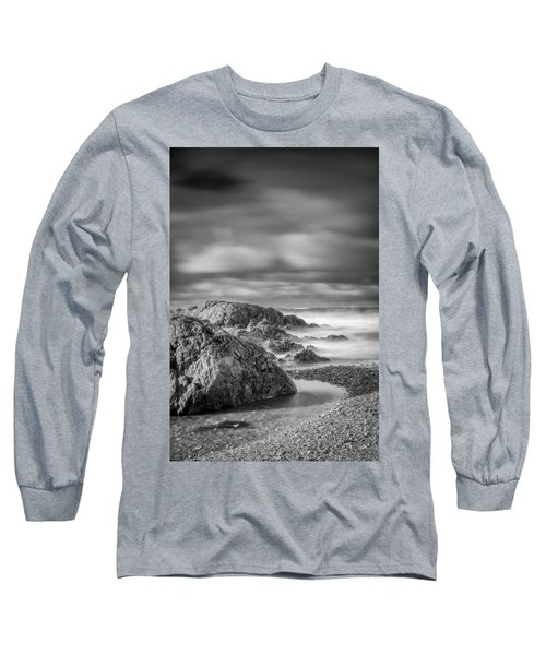 Long Exposure Of A Shingle Beach And Rocks Long Sleeve T-Shirt