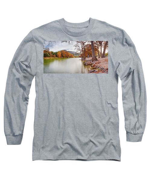 Long Exposure Panorama Of The Frio River And Old Baldy At Garner State Park - Texas Hill Country Long Sleeve T-Shirt