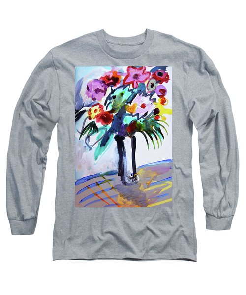 Long Vase Of Red Flowers Long Sleeve T-Shirt by Amara Dacer