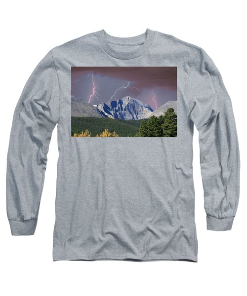 Longs Peak Lightning Storm Fine Art Photography Print Long Sleeve T-Shirt