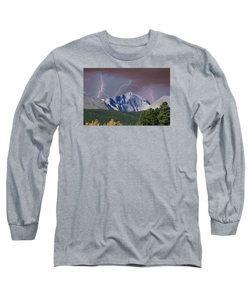 Longs Peak Lightning Storm Fine Art Photography Print Long Sleeve T-Shirt