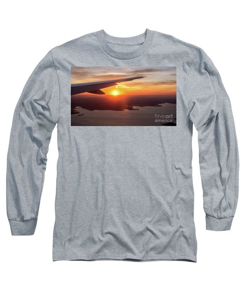 Looking At Sunset From Airplane Window With Lake In The Backgrou Long Sleeve T-Shirt