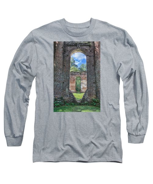 Long Sleeve T-Shirt featuring the photograph Looking Through The Old Sheldon Church by Patricia Schaefer