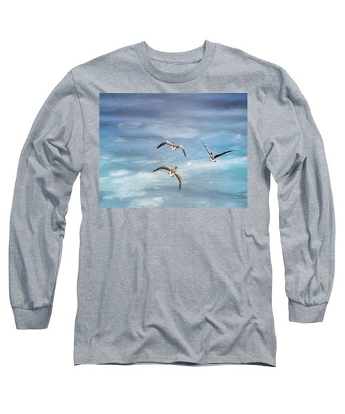 Loons Over Ice - Three Long Sleeve T-Shirt by Vicki Jauron