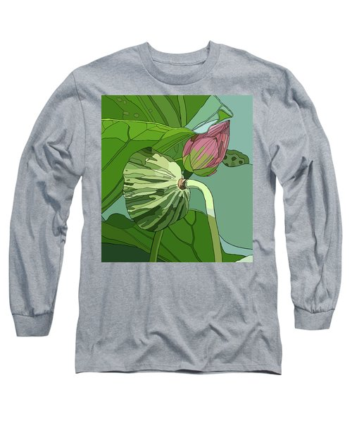 Lotus And Bud Long Sleeve T-Shirt by Jamie Downs