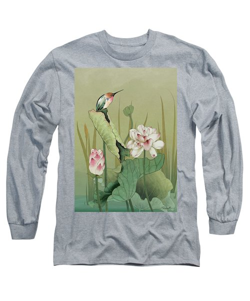 Lotus Flower And Hummingbird Long Sleeve T-Shirt