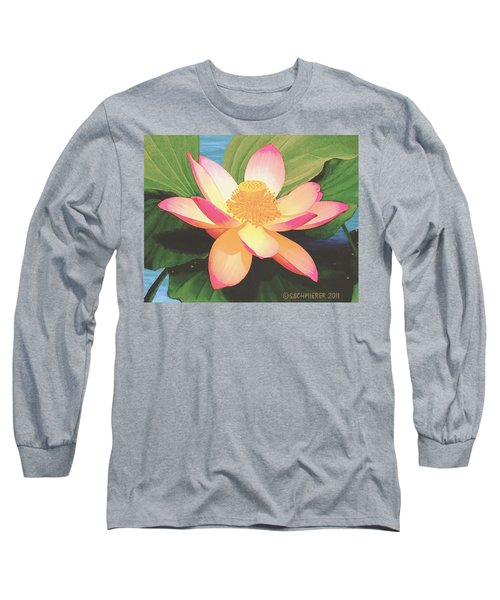 Long Sleeve T-Shirt featuring the painting Lotus Flower by Sophia Schmierer