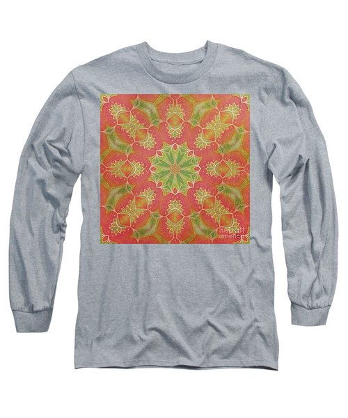 Long Sleeve T-Shirt featuring the drawing Lotus Garden by Mo T