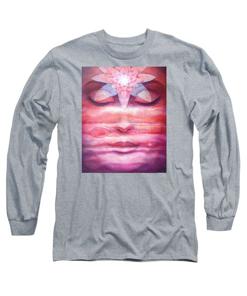 Long Sleeve T-Shirt featuring the painting Lotus Meditation, Jupiter Clouds by Sue Halstenberg