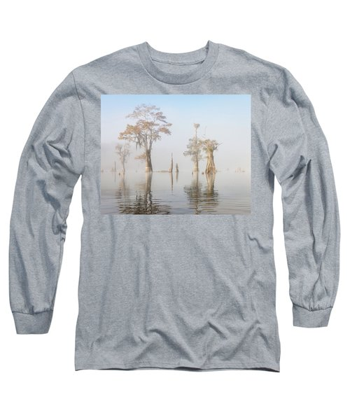 Louisiana Cypress Swamp On A Foggy Morning Five Long Sleeve T-Shirt