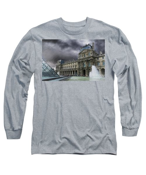 Long Sleeve T-Shirt featuring the mixed media Louvre by Jim  Hatch