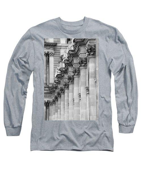Long Sleeve T-Shirt featuring the photograph Louvre Pillars, Paris, 2015 by Hitendra SINKAR