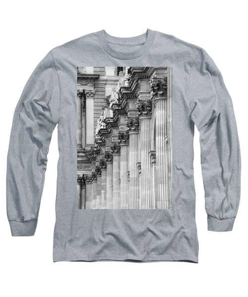 Long Sleeve T-Shirt featuring the photograph Louvre Pillars, Paris, 2015 by Hitendra SINKAR