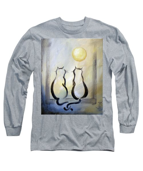 Love Moon Cats Long Sleeve T-Shirt by Dina Dargo