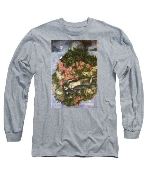 Lovers In The Lilacs Long Sleeve T-Shirt by Marc Chagall