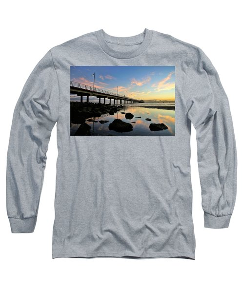 Low Tide Reflections At The Pier  Long Sleeve T-Shirt