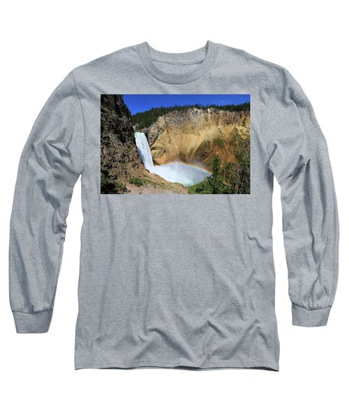 Lower Falls With A Rainbow Long Sleeve T-Shirt
