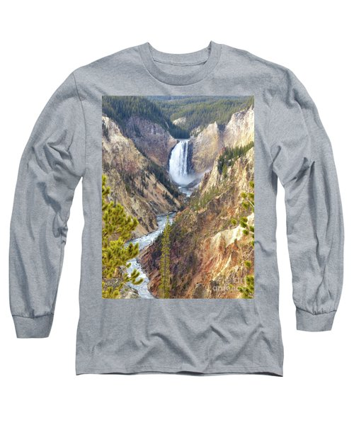 Lower Yellowstone Falls From Artist Point Long Sleeve T-Shirt