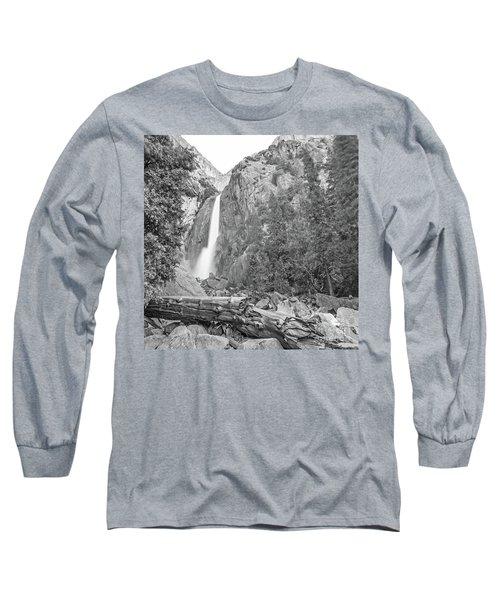 Lower Yosemite Falls In Black And White By Michael Tidwell Long Sleeve T-Shirt